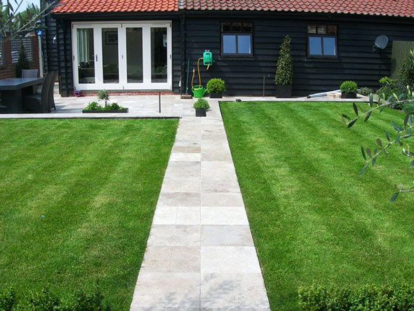 Mowed lawn with paved divider